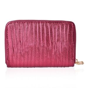 Handbags - Shiny Faux Leather Pleated Wallet (6X1X4 IN)